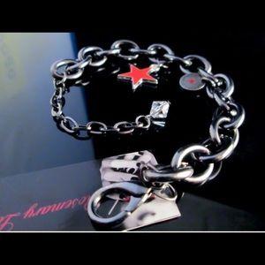 Goth rocker chunky designer gunmetal bracelet